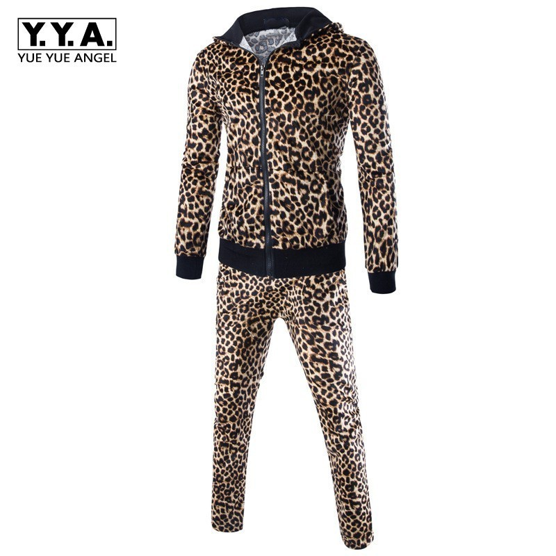 2020 Euro Fashion Men Leopard Hoody Sweatshirts Sweatpants Tracksuit Sets Joggers Casual Fitness Clothing Suit Ensemble Homme
