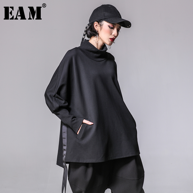 [EAM] 2020 New Spring Autumn Turtleneck Long Batwing Sleeve Split Bandage Loose Big Size Sweatshirt Women Fashion Tide JY914
