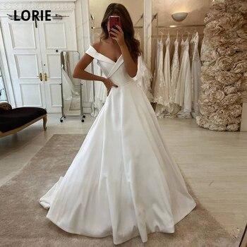 LORIE Off the Shoulder Satin Wedding Dresses 2020 V-neck Bridal Gowns Princess Beach Plus Size