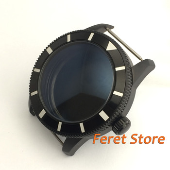 46mm black bezel black PVD coated 316L stainless steel case fit Mingzhu 2813 ETA 2836 movement