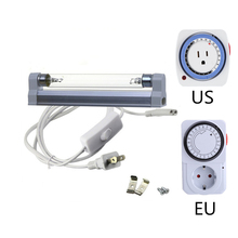 Ultraviolet UVC Sterilizer Germicidal Ozone Lamp w/ 24 Hours Mini Mechanical Timer 110~220v t5 t8 Series Durable Sterilization цена и фото