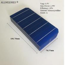 Monocrystalline 태양 전지 0.5V 2.5W 고품질 156.75mm x 78.37mm diy 100W 태양 전지 패널 40 개/몫