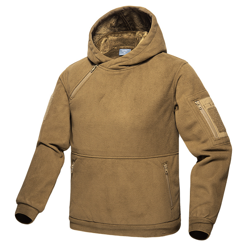 Outdoor Autumn And Winter Hooded Hiking Fleece Jacket Men Warm Hunting Clothing Wear-Resistant Scratch-Resistant Tactical Jacket