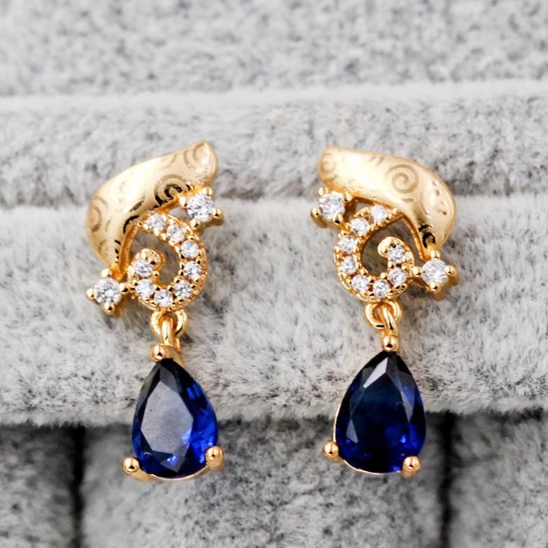 Богемные серьги для женщин, позолоченные серьги с фианитом, Синий Циркон, Boho трендовые серьги гвоздики, свадебные ювелирные изделия|Серьги-гвоздики|   | АлиЭкспресс