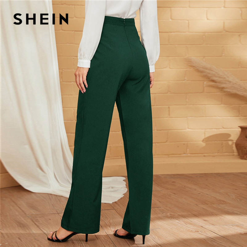 SHEIN Green Double-breasted Straight Leg Solid Long Pants Women Autumn High Waist Straight Leg Office Ladies Elegant Trousers 2