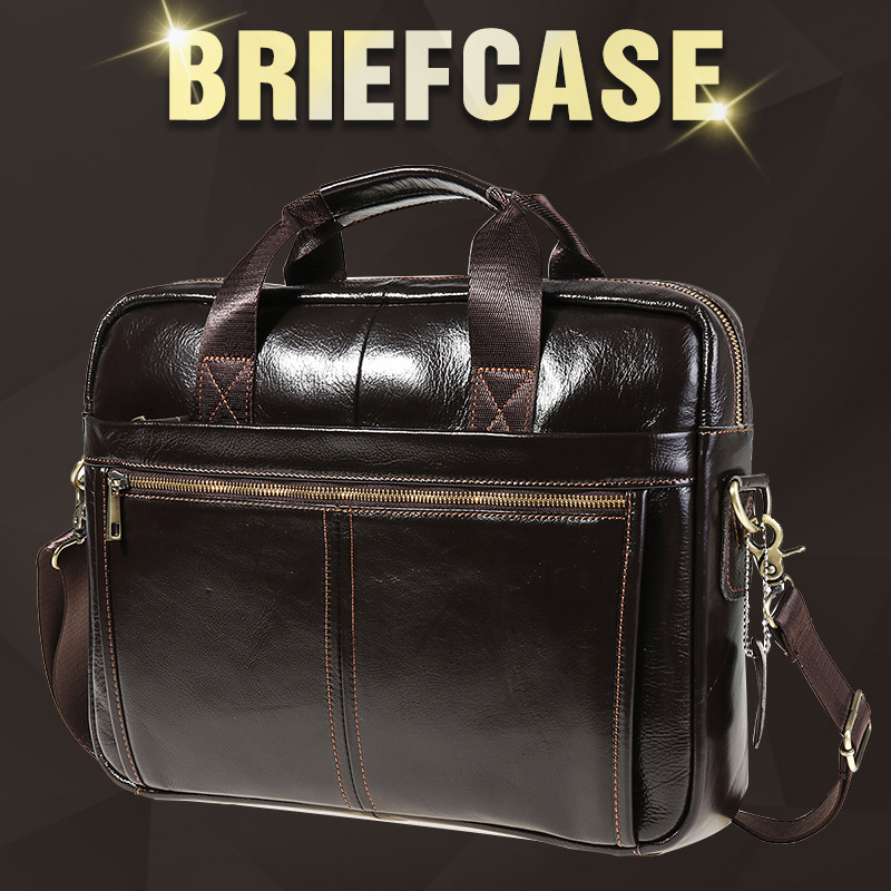 Men Briefcase Men Business Briefcase Vintage Genuine Leather Laptop Messenger Bag Cowhide Big Capacity Tote Office Handbag
