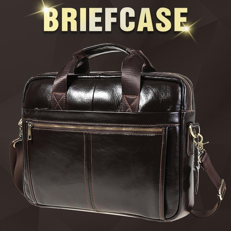 Men Briefcase Men Business Briefcase Vintage Genuine Leather Laptop Messenger Bag Cowhide Big Capacity Tote Office Handbag