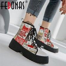 FEDONAS 2020 drukuje prawdziwej skóry kobiet buty motocyklowe moda trampki obuwie kobieta zimowe ciepłe kobiety botki