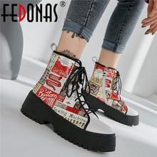 Женские ботинки в байкерском стиле FEDONAS, теплые зимние ботинки из натуральной кожи с принтом, кроссовки на каждый день, 2020