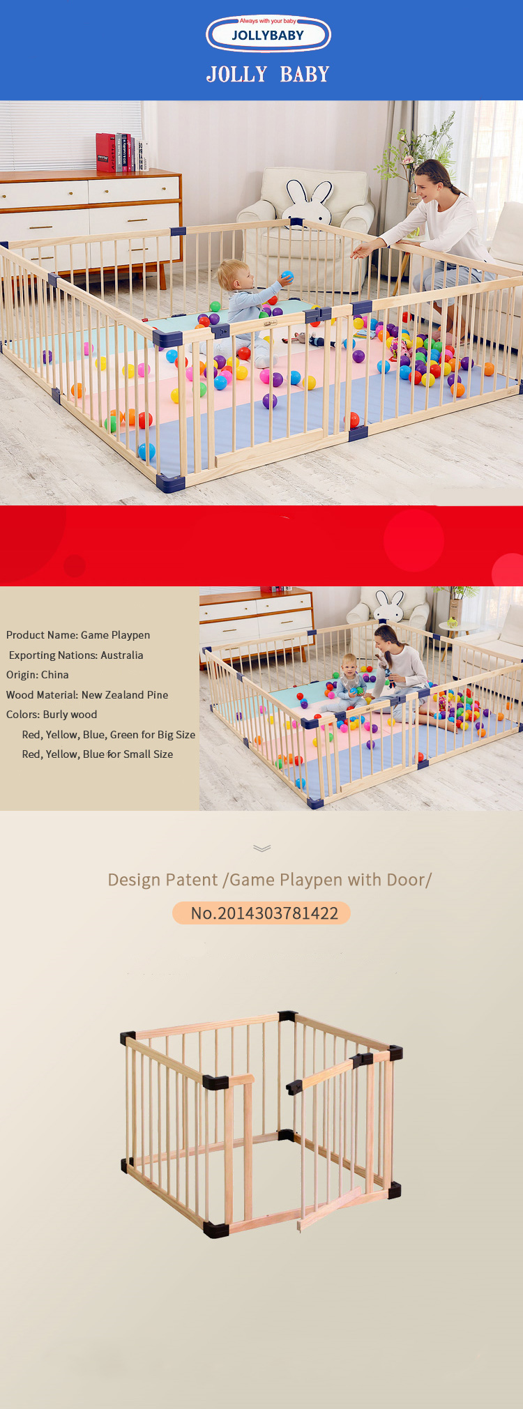 Baby Playpen Height 61cm Height Eco Friendly Baby Game Fence Solid Wood Gate Baby Playpen Export No Smell Health Baby Fence Many Size Send Gifts