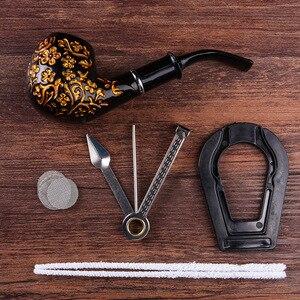 Black Carved Resin Bakelite Smoking Pipe Set Retro Tobacco Pipe With Filter Send Pipe Tools Smoke Accessories CF292