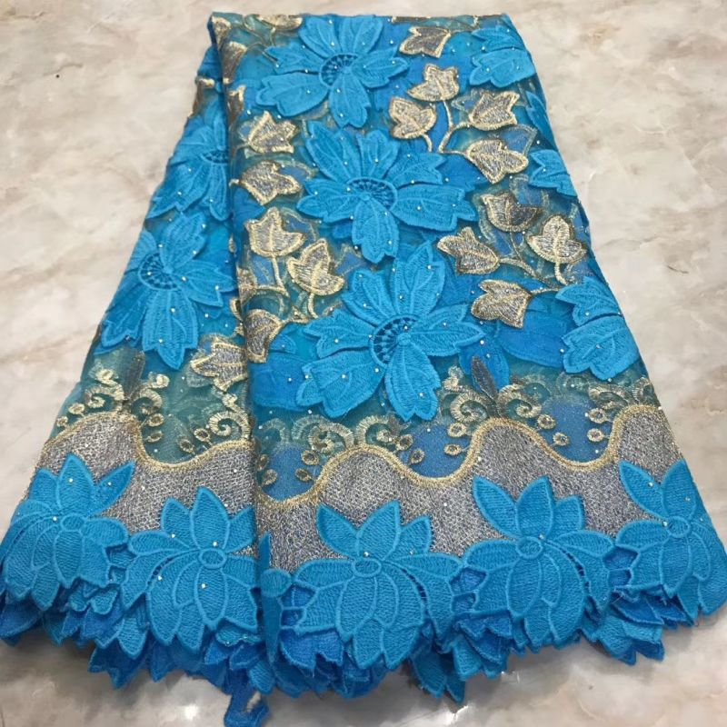 Blue Tulle French Mesh Lace Fabric With Rhinestones, 2020 High Quality Nigerian African Lace Fabrics For Dress Wedding Materials