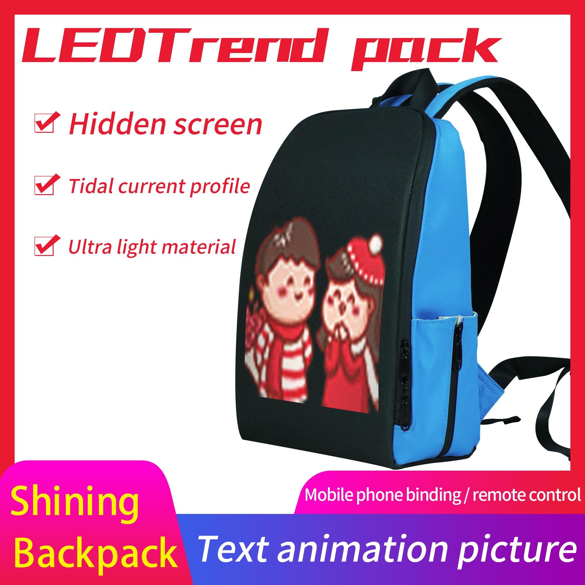 Edison Newest Led Backpack Men Backpack WIFI Version Led Display Smart Backpack  Light Multi-function Computer Backpack Mochila