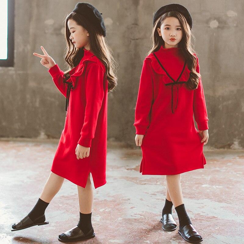Платье для девочек, одежда осень зима, корейский красный бархат Рождество, платье для девочек, костюм для детей 5, 6, 4, От 7 до 15 лет