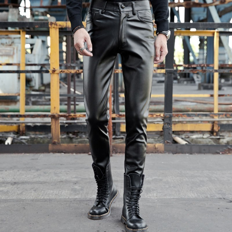 Winter Mens Fleece Lining Warm Long Pu Leather Pants Slim Fit Motorcycle Biker Trousers Thick Stretchy Leather Pencil Pants 38