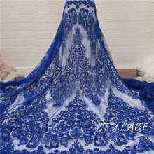 Gold and Royal Blue Heavy Luxury bead Embroidery Tulle French Party Wedding Gown Sequins Lace Fabric