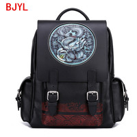 2020 New Backpack College Large School Bags Cowhide Leather Carved Dragon Tiger Head Travel Men's Handmade Leather Cow Leather