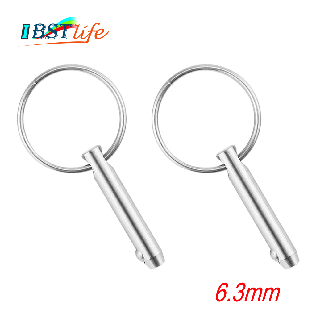 2PCS 6.3mm Marine Grade 1/4 Inch Quick Release Ball Pin For Boat Bimini Top Deck Hinge Marine Stainless Steel 316 Boat