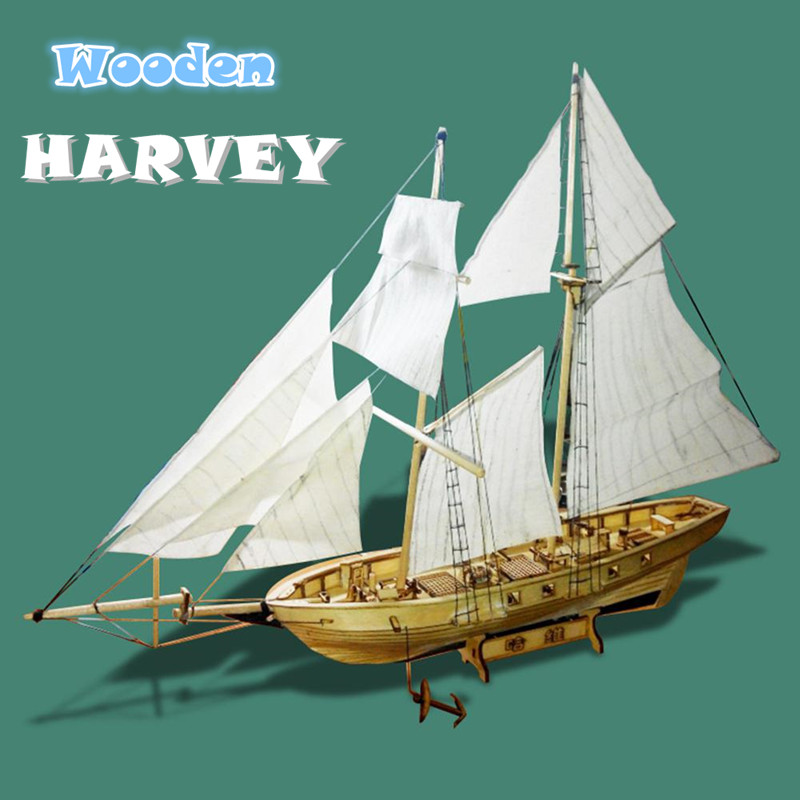 Assembling Building Kits Ship Model Wooden Sailboat Toys Harvey Sailing Model Assembled Wooden Kit DIY D30