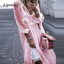 2021 verão elegante cor sólida com decote em v vestido longo feminino sexy com decote em v malha rendas vestido de festa senhoras casual manga longa maxi vestidos