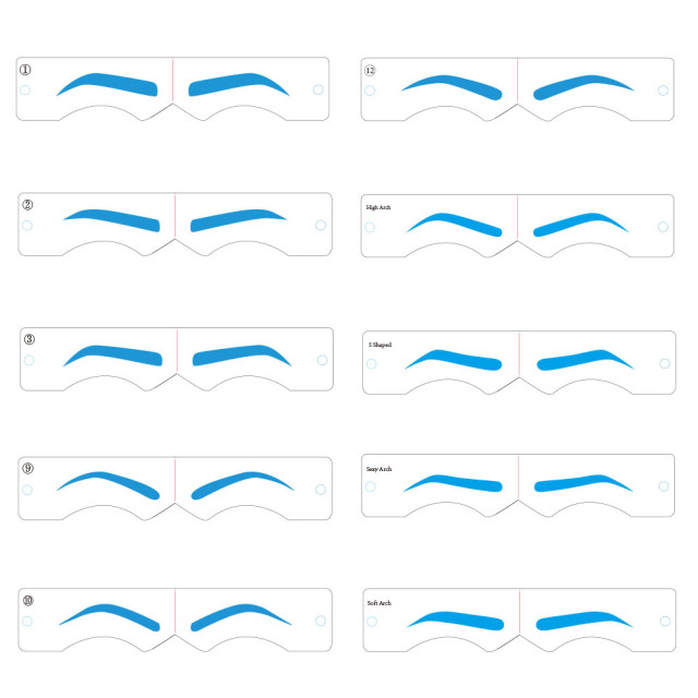 10 Styles Microblading Eyebrow Stencils Stickers Permanent Makeup Supplies Reusable Eyebrow Mold Template Drawing Guide 4