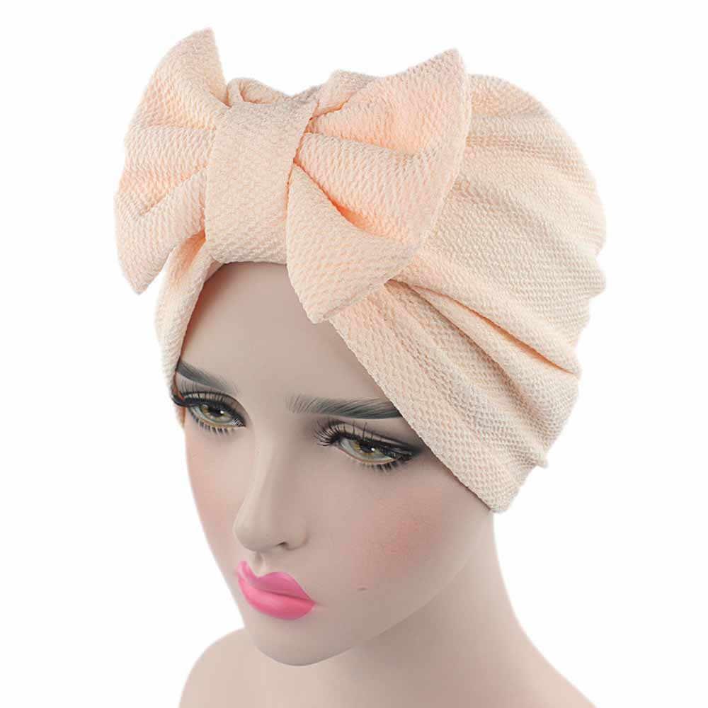 Однотонная шапка унисекс, осенняя вязаная теплая шапка для женщин, бант, рак, химиотерапия шляпа, шапочка, шарф, головной убор, шапка бини, шапочка, шапка женска