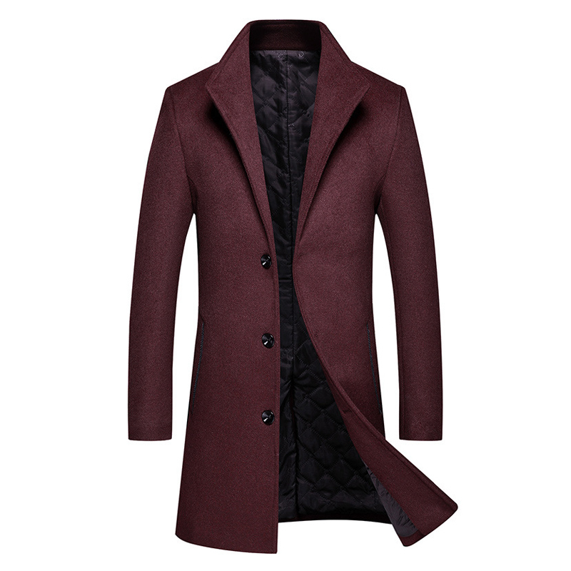 2020 Autumn and Winter New Men's Warm Wool Coat Fashion Casual Thick Long Jacket Men Male Brand Black Red Wine Navy Gray