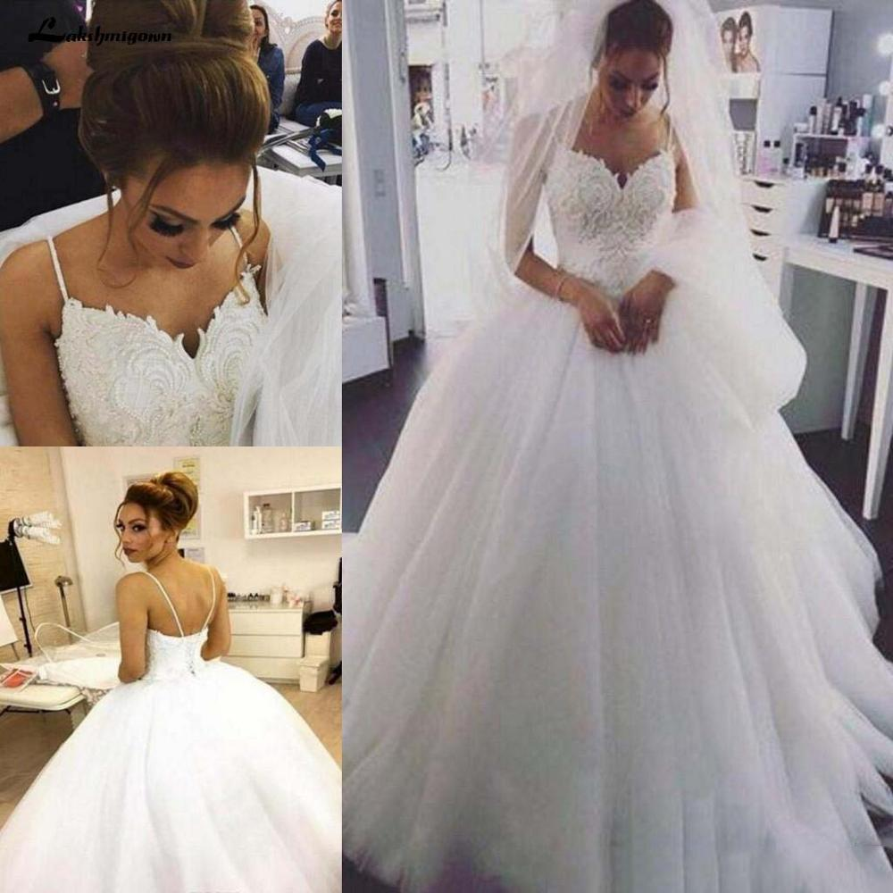 Elegant Beaded Pearls Tulle A Line Boho Wedding Dresses 2020 Spaghetti Straps Bridal Dresses Plus Size Weding Gowns For Brides