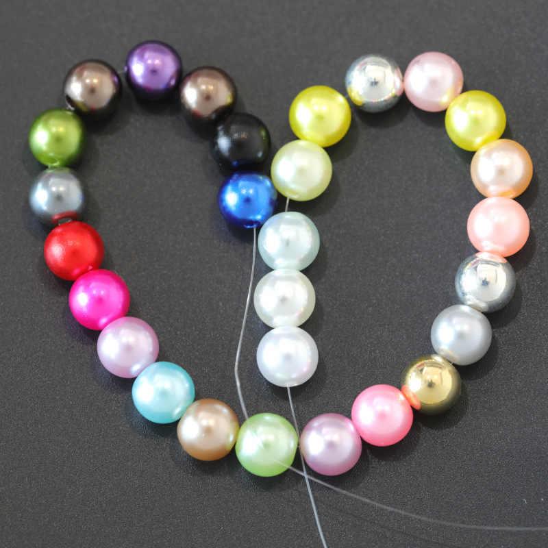 100 pièces/sac avec trou perles d'imitation ABS 4/6/8/10/12MM rond en plastique acrylique perle d'espacement pour bijoux à bricoler soi-même faire des résultats