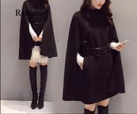 High Quality Autumn Winter Poncho Coat Women Elegant Korean Clothes Outerwear Plus Size Hooded Poncho Wool Coat Women