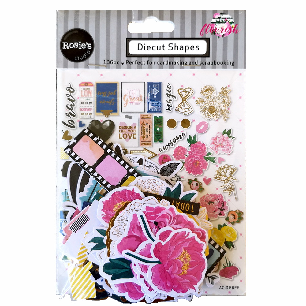 CRZCrafter 136pc Printed Paper Diecut Shapes Foil Design For Scrapbooking Cardmaking Journal Embellishments