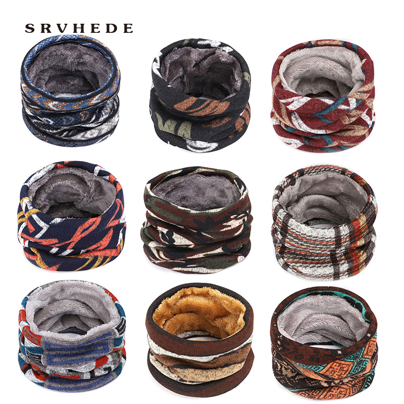 Fashion Men Winter Scarf Ring Women Knitted Scarves For Men Neck Shawl Snood Warp Collar Warm Male Soft Fleece Scarves