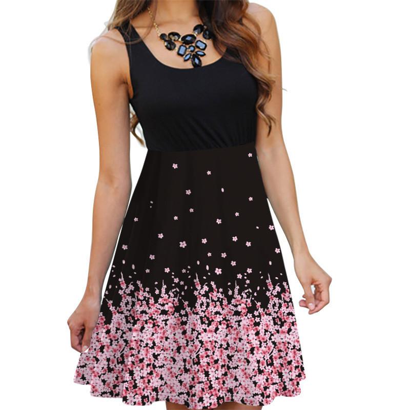 Floral Boho Dress Ladies Sleeveless O Neck Slim A line Tank Dress Summer Women Fashion Vintage 3D Printing Casual Dress Vestidos