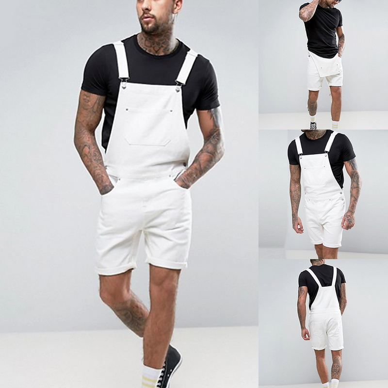 Jeans Streetwear Jumpsuit Suspender-Pants Pocket Slim-Fit Denin Plus-Size Men Fashion
