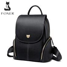FOXER Cowhide Genuine Leather Girls School Bag Korean Simple Black Women Backpack Large Capacity Lady Casual Travel Rucksacks