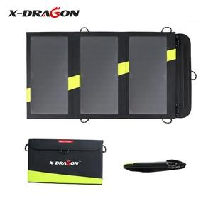 Image 1 - X DRAGON cargador de Panel Solar de 20W, cargador de batería Solar portátil, tecnología para iPhone, ipad, teléfonos Android, senderismo y aire libre