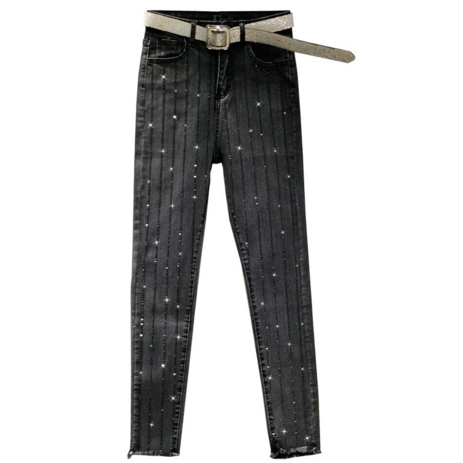 2020 Spring Heavy Industry Hot Drilling Jeans Women Straight Fashion New High Waist Wast Feet Pencil Jeans