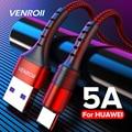 Кабель VENROII USB Type-C/USB Type-A, 5A, QC3.0, в нейлоновой оплетке, 0.25-2 метра, 4 цвета