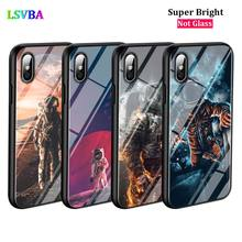 Black Cover Space Cool Astronaut for iPhone X XR XS Max for iPhone 8 7 6 6S Plus 5S 5 SE Super Bright Glossy Phone Case black cover japanese samurai for iphone x xr xs max for iphone 8 7 6 6s plus 5s 5 se super bright glossy phone case