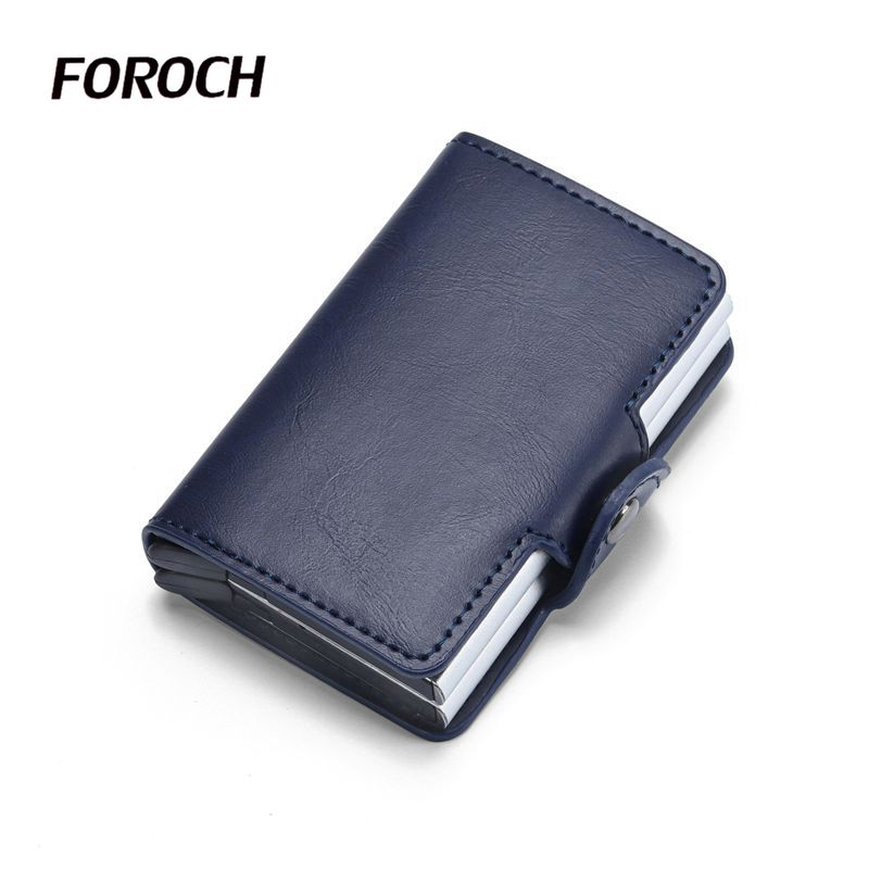 Men Double Aluminum Travel Card Wallet Rfid Wallet Credit Card Holder Crazy Horse Leather Security Metal Smart Purse Tarjetero
