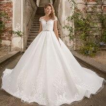 Свадебное платье принцессы, бальное платье размера плюс, блестящее платье с коротким рукавом и аппликацией из кристаллов
