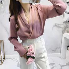 Осень, атласные Блузы с длинным рукавом и v-образным вырезом, женские сексуальные атласные топы с v-образным вырезом, женские атласные рубашки с v-образным вырезом