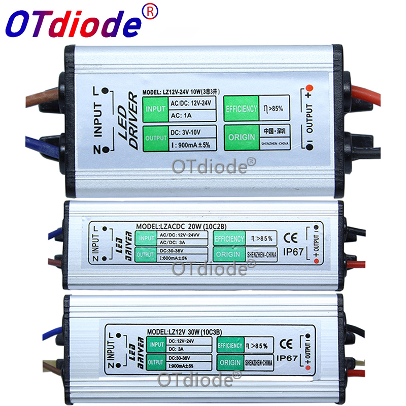 AC 85-265V To DC 3 -10V / DC 30 - 36V <font><b>LED</b></font> <font><b>Driver</b></font> IP67 Waterproof Lighting Transformers Power Supply 10W 20W 30W 50W 100W image