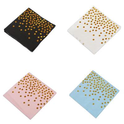 10Pcs High Quality Hot Stamping Disposable Tableware Napkin Paper Towel Adult Happy Birthday Party Decor Kids Wedding Birthday