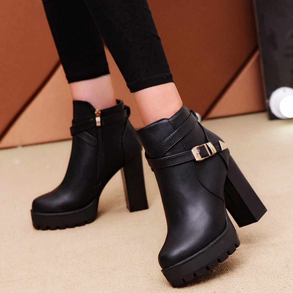 Women's Platform Keep Warm Snow Boots Fashion Winter Zipper Belt Buckle Strap boots Square root Heels Round Toe Leather Boots