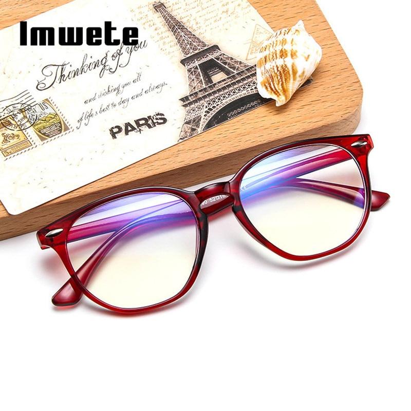 Imwete Vintage Anti Blue Light Computer Glasses Frame Men Transparent Lens Eyeglasses Goggles Women Retro Spectacles Frames