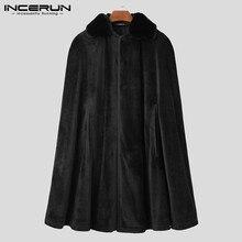 Winter Men Cloak Trench Solid Color Button Fleece Velour Warm Coats Streetwear Chic Vintage Poncho Mens Jackets S-5XL INCERUN