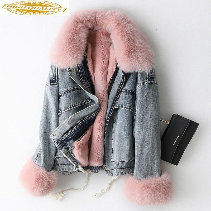 2019 Parka Real Fur Coat Female Rabbit Fur Liner Denim Jacket Winter Coat Women Fox Fur Collar Warm Korean Jackets MY