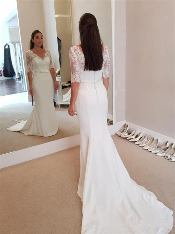 Vintage Satin Mermaid Wedding Dresses 2019 Applique Lace Wedding Gowns Handmade Half Sleeves Sweep Train Bride Dress