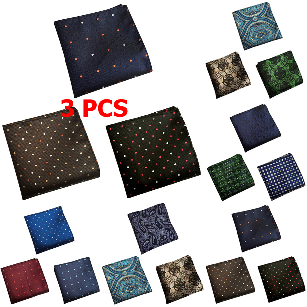 3 PCS Men Paisley Floral Polka Dots Pocket Square Handkerchief Wedding Hanky